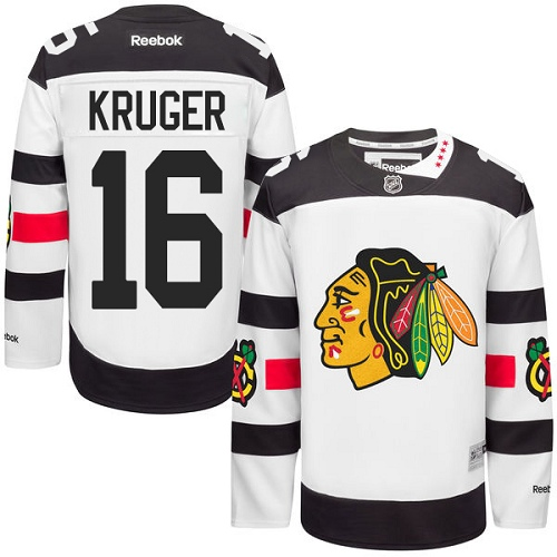 Men's Reebok Chicago Blackhawks #16 Marcus Kruger Authentic White 2016 Stadium Series NHL Jersey